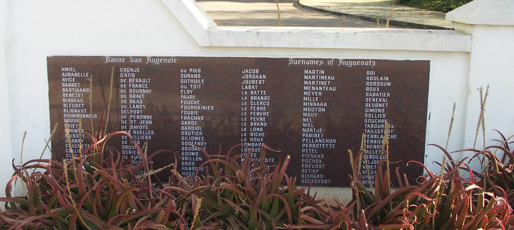Surnames of South African Huguenots